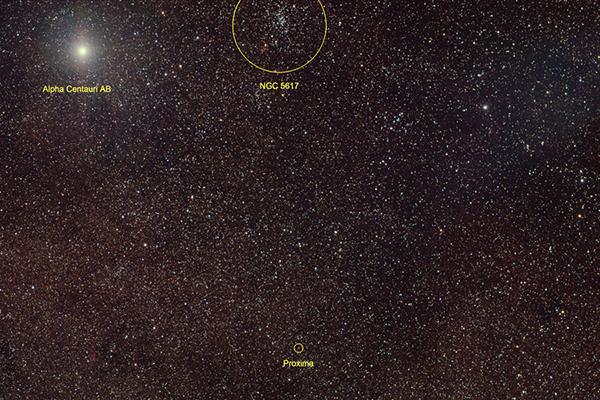 3 звезды Альфа Центавра и звездное скопление NGC 5617